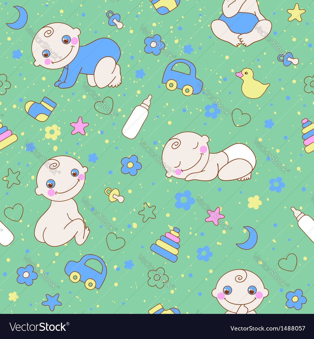 Seamless pattern with cute newborn baby boy vector | Price: 1 Credit (USD $1)