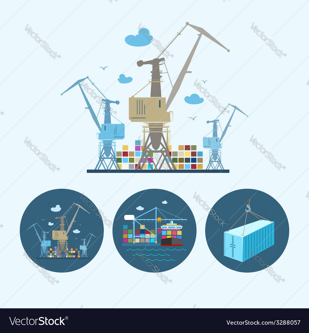 Set icons with container the cranes vector | Price: 1 Credit (USD $1)