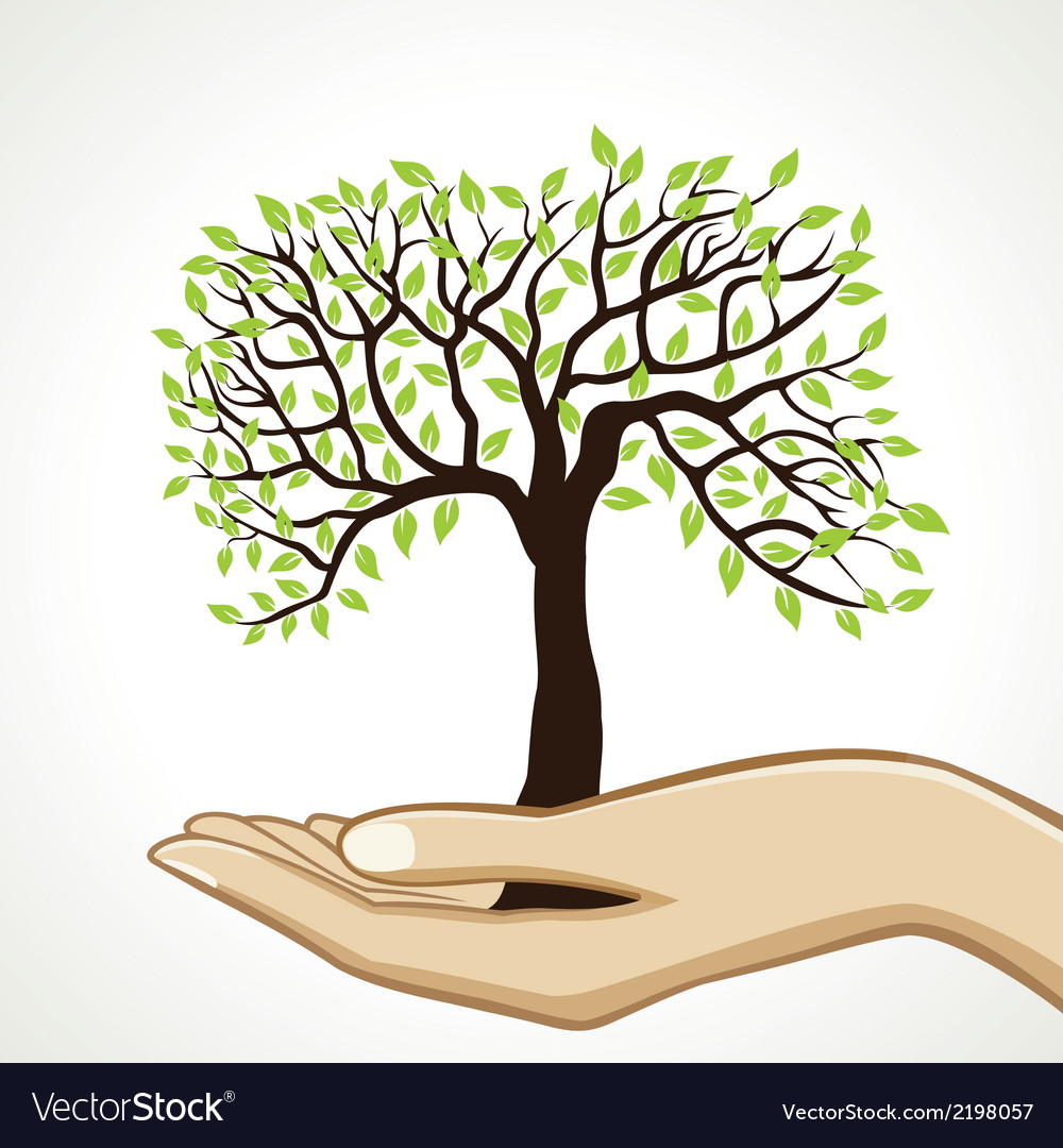 Small tree on hand vector | Price: 1 Credit (USD $1)