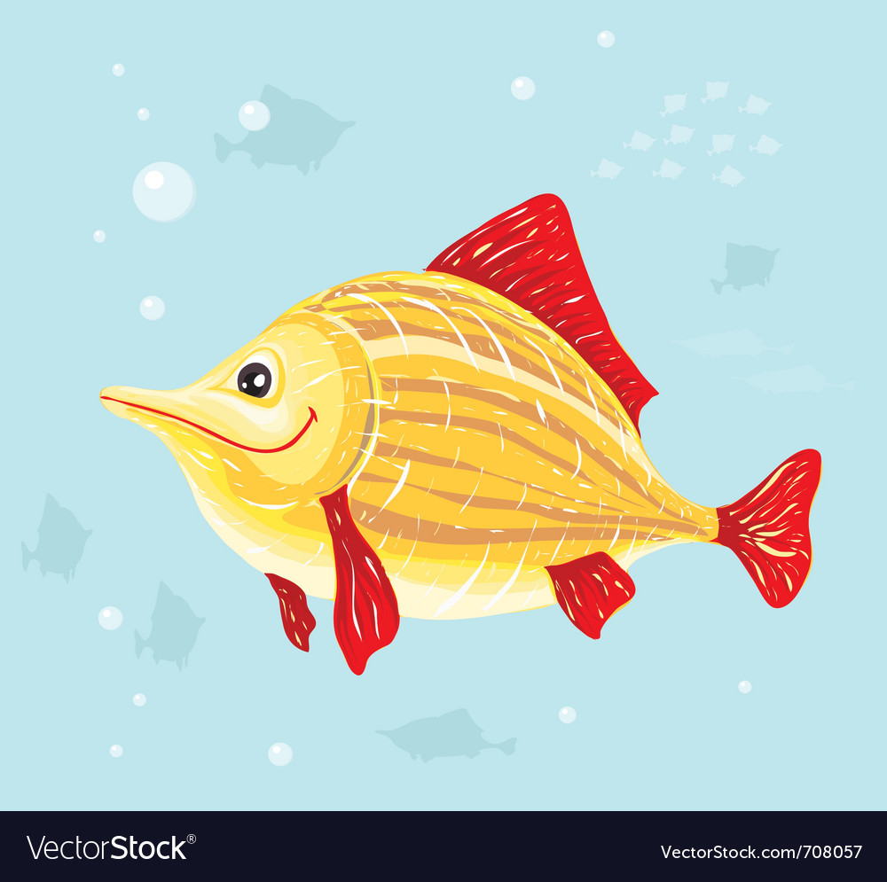 Smiling cartoon fish vector | Price: 1 Credit (USD $1)