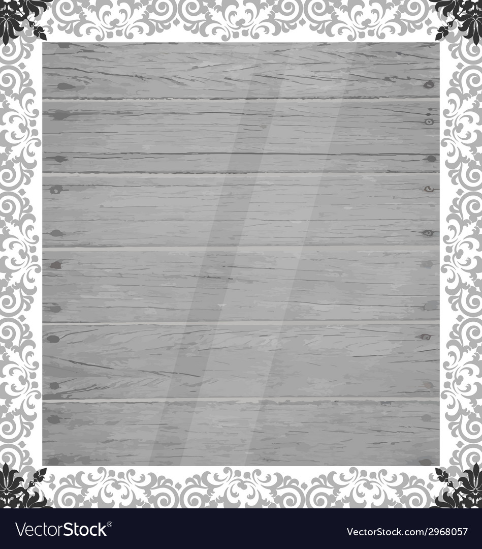 Vintage frame on wood wall vector | Price: 1 Credit (USD $1)