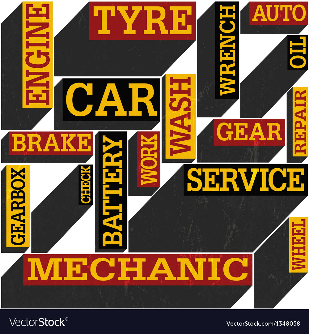 Auto service words poster vector | Price: 1 Credit (USD $1)