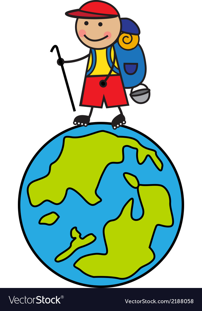 Cartoon tourist with a backpack going up the globe vector | Price: 1 Credit (USD $1)