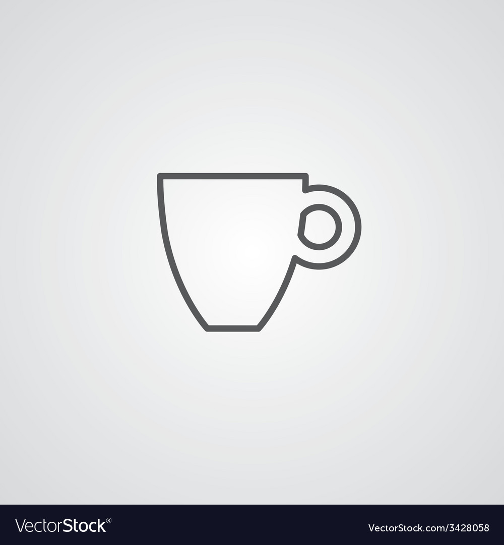 Coffee outline symbol dark on white background vector | Price: 1 Credit (USD $1)