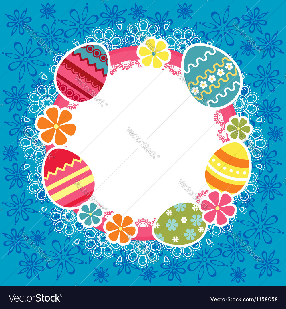Easter frame with eggs and flowers vector | Price: 1 Credit (USD $1)