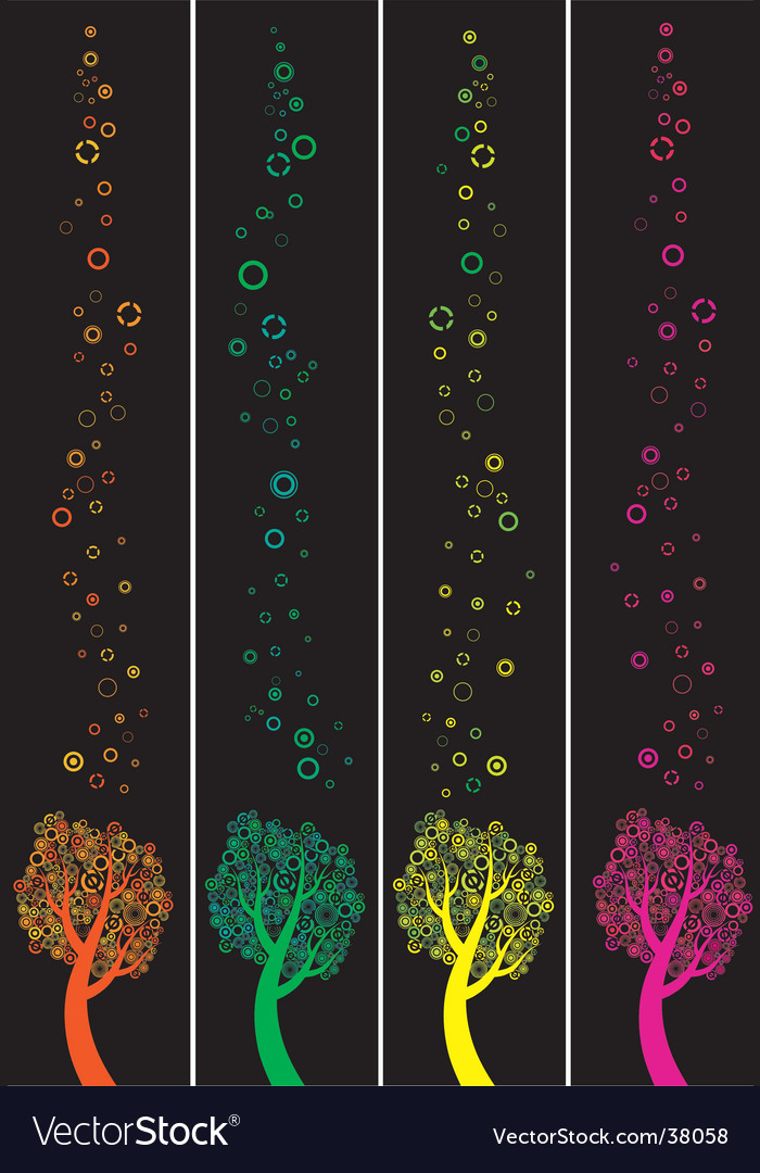 Four banners with abstract trees vector | Price: 1 Credit (USD $1)