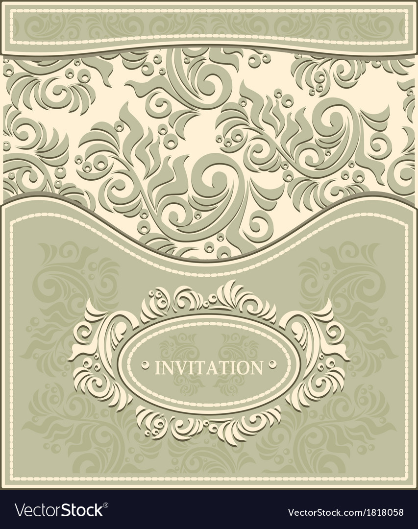 Invitation or frame in decorative floral backgroun vector | Price: 1 Credit (USD $1)
