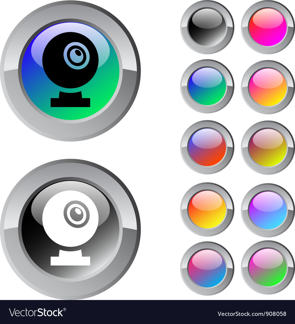 Webcam multicolor round button vector | Price: 1 Credit (USD $1)