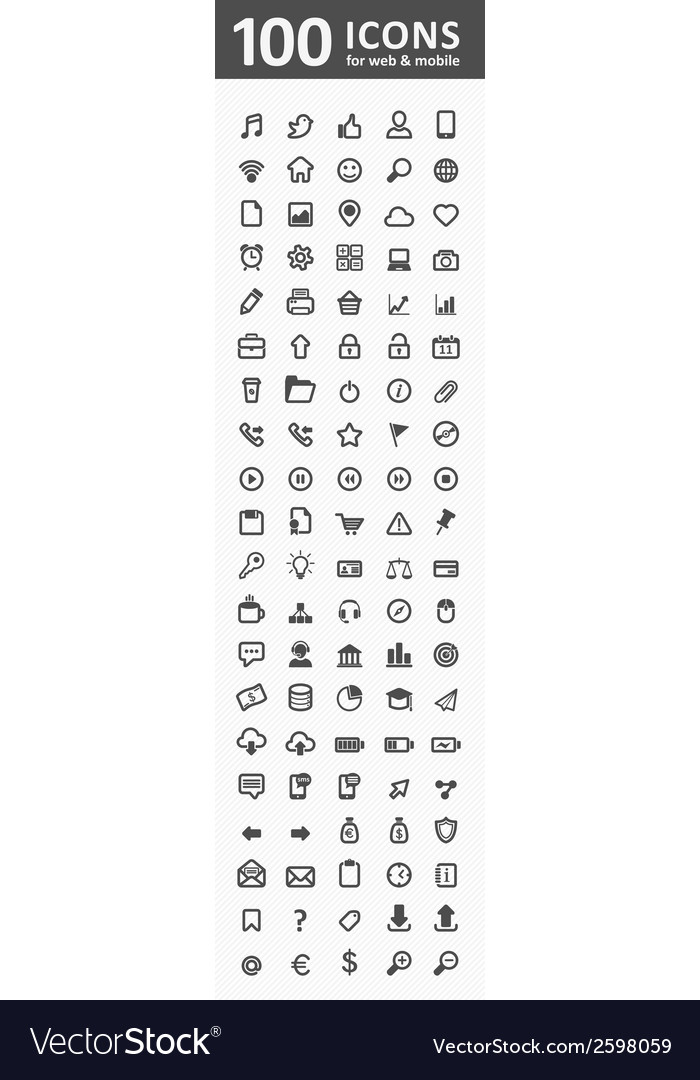 100 icons for web and mobile vector | Price: 1 Credit (USD $1)