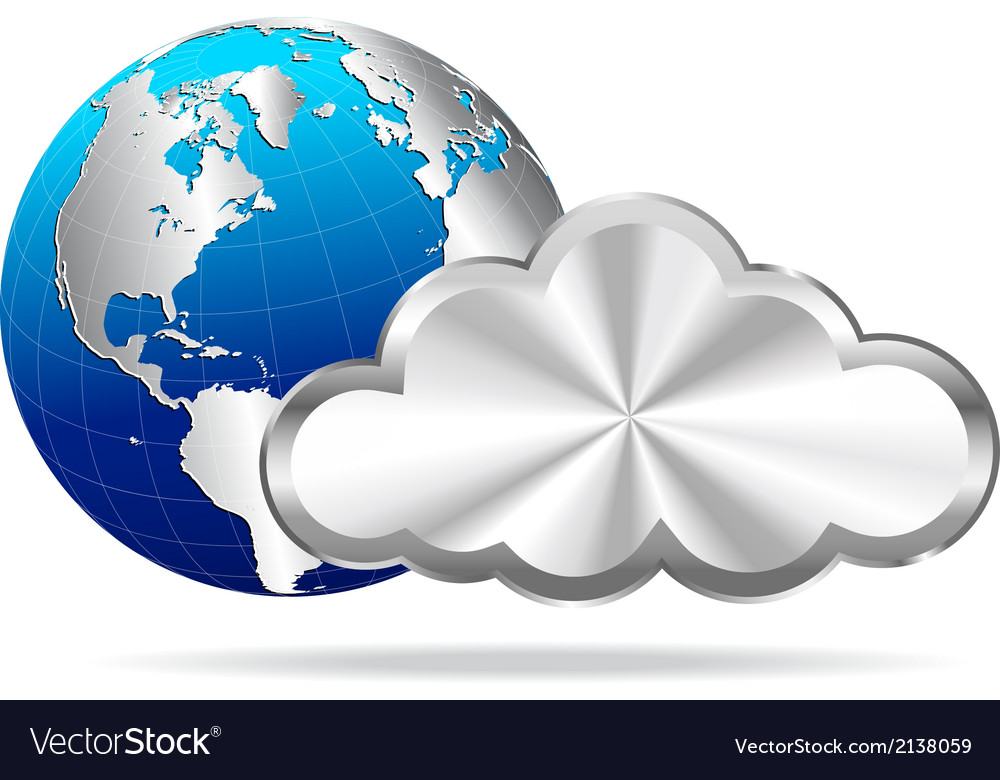 Cloud and globe vector | Price: 1 Credit (USD $1)