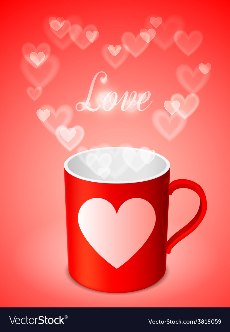 Cup with hearts vector   Price: 1 Credit (USD $1)