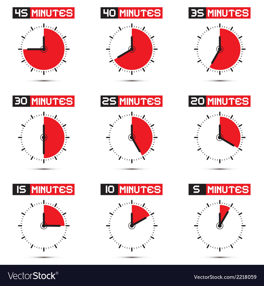 Five to forty five minutes stop watch vector | Price: 1 Credit (USD $1)
