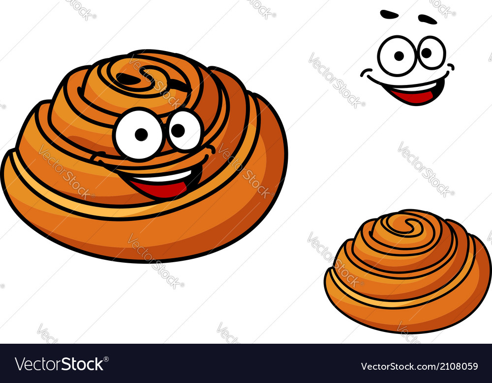 Happy delicious cartoon sticky bun vector | Price: 1 Credit (USD $1)