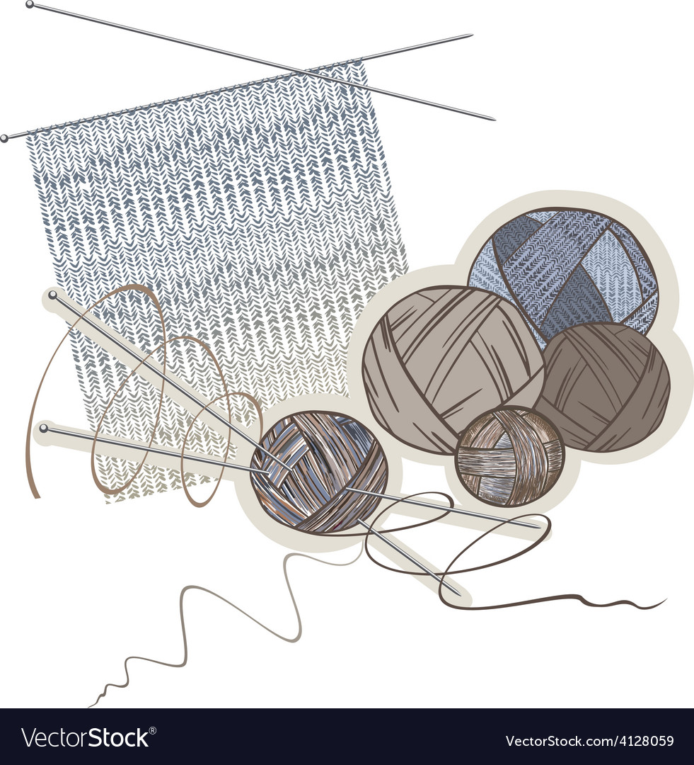 Needles balls of wool and knitting pattern vector   Price: 1 Credit (USD $1)