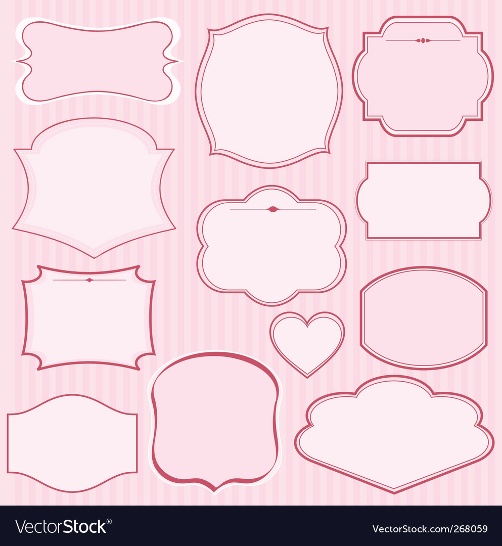 Set of pink frames vector | Price: 1 Credit (USD $1)