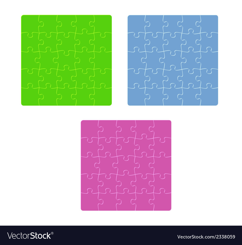 Three color puzzle fields with rounded pieces in vector | Price: 1 Credit (USD $1)
