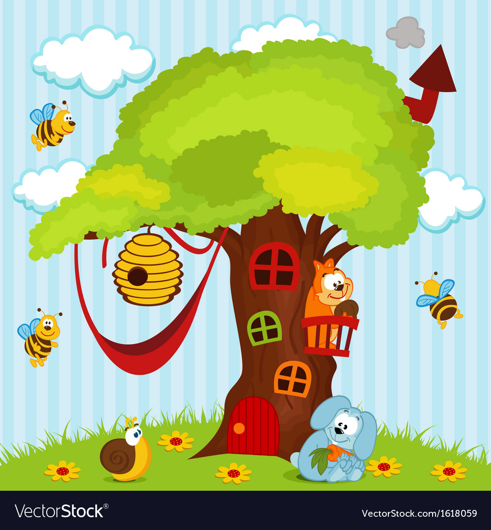 Tree house with animals vector | Price: 1 Credit (USD $1)