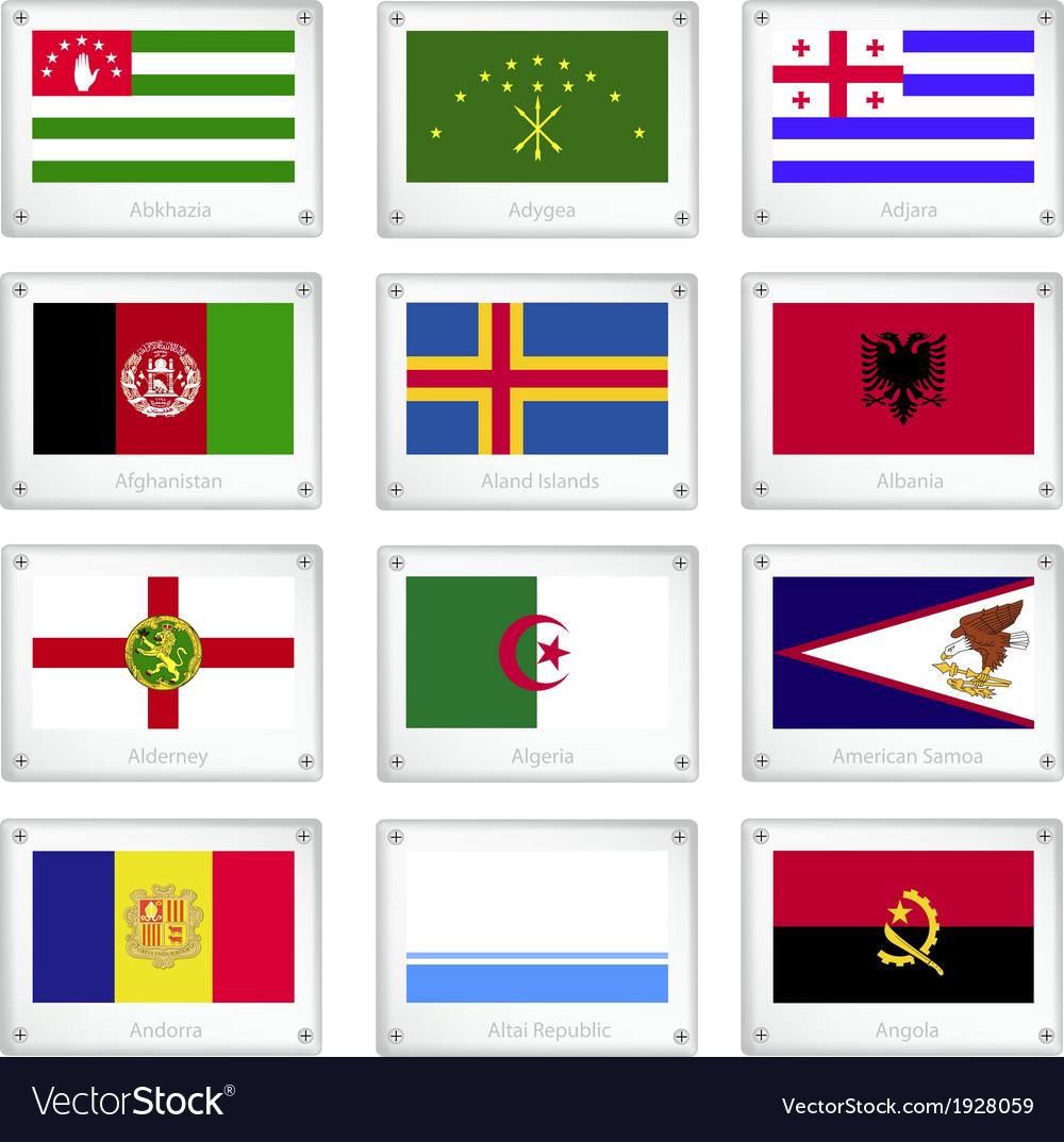 Twelve national flags on metal texture plate vector | Price: 1 Credit (USD $1)