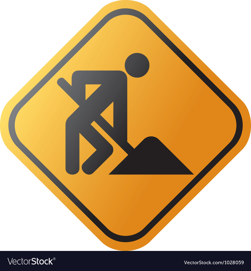 Under construction road sign with man vector | Price: 1 Credit (USD $1)