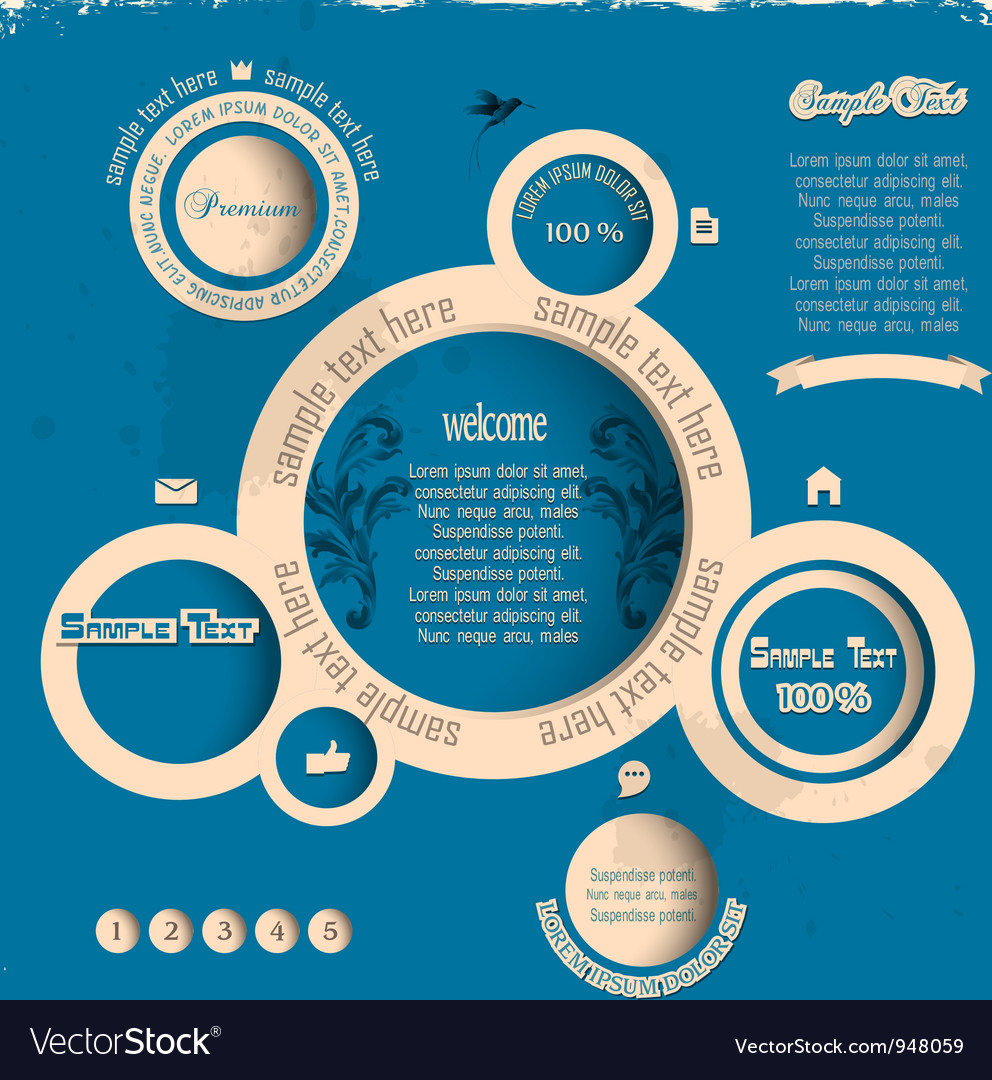 Vintage web design bubbles vector | Price: 1 Credit (USD $1)