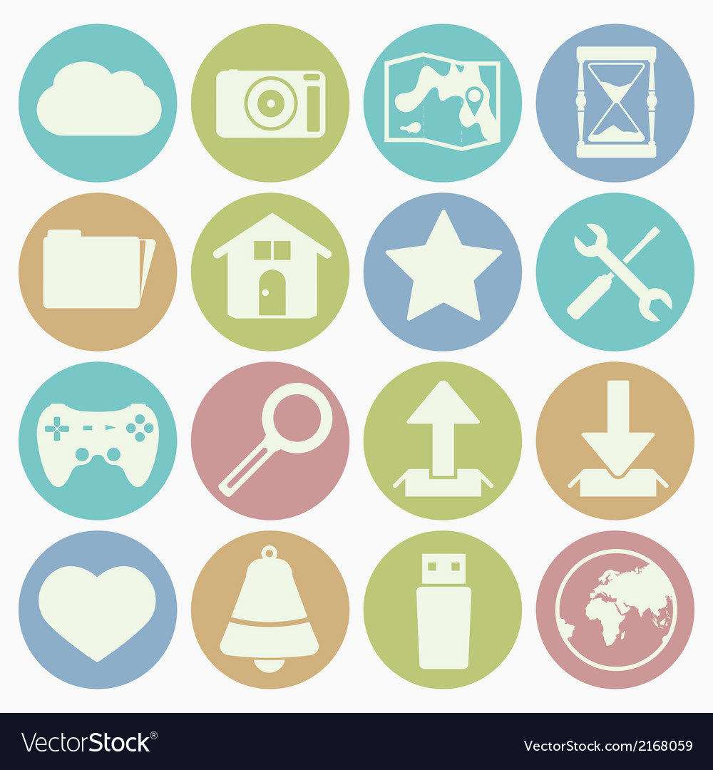 White icons web vector | Price: 1 Credit (USD $1)