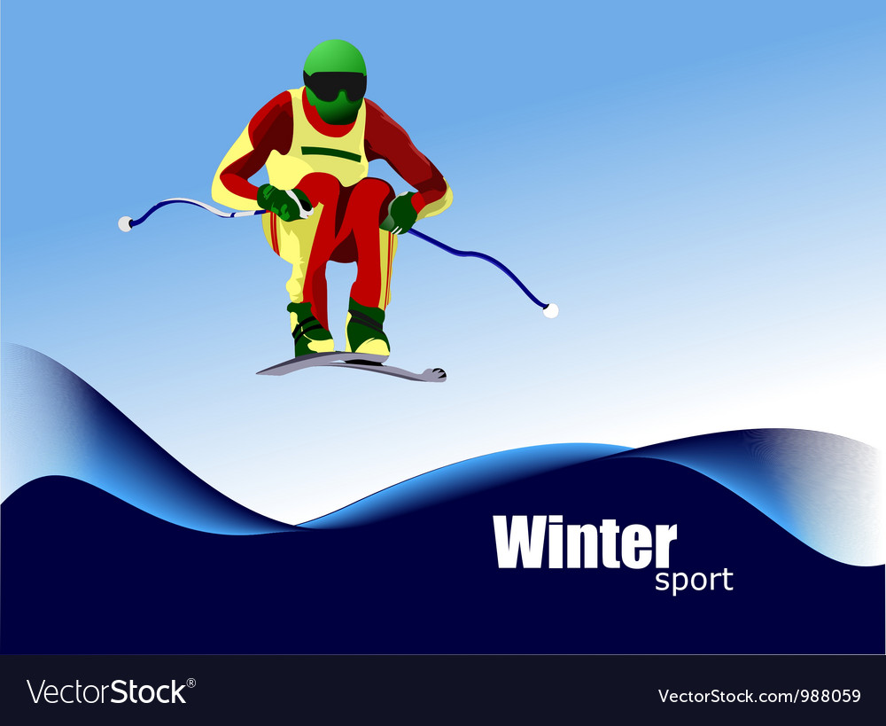 Winter sports skiing vector | Price: 1 Credit (USD $1)
