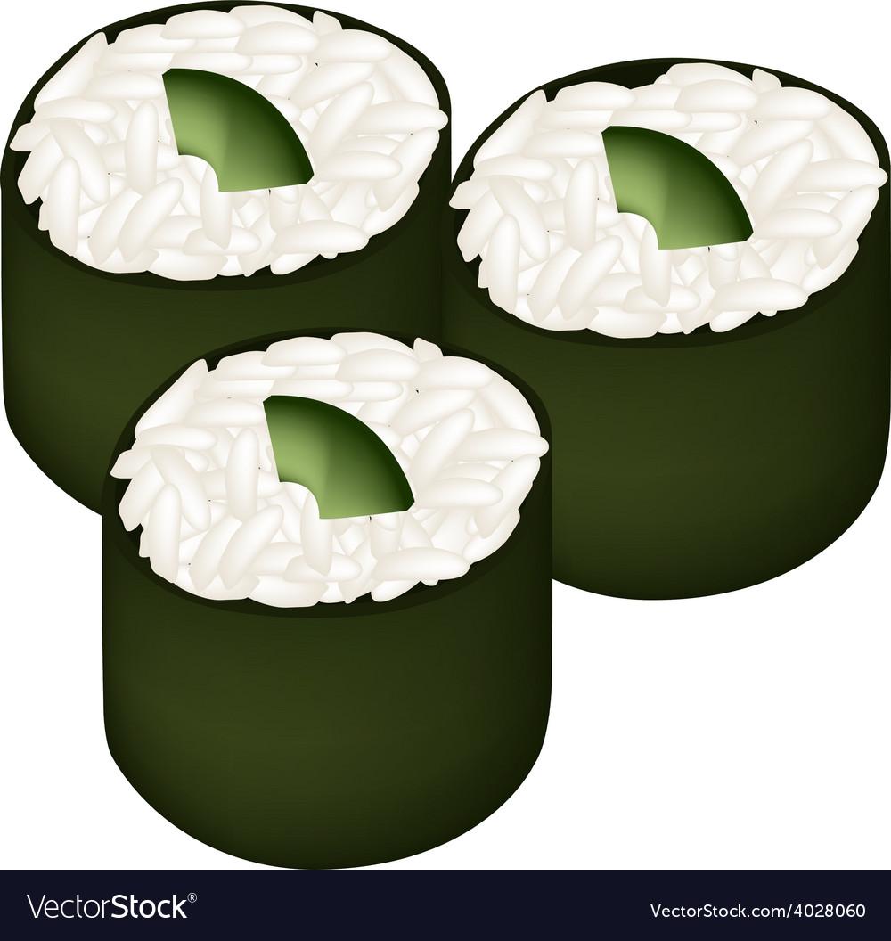 Avocado sushi roll or avocado maki vector | Price: 1 Credit (USD $1)