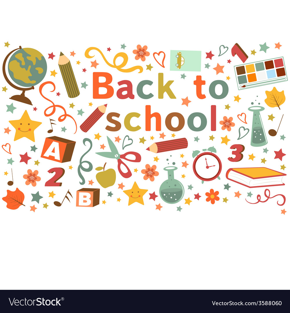 Back to school colorful composition vector | Price: 1 Credit (USD $1)