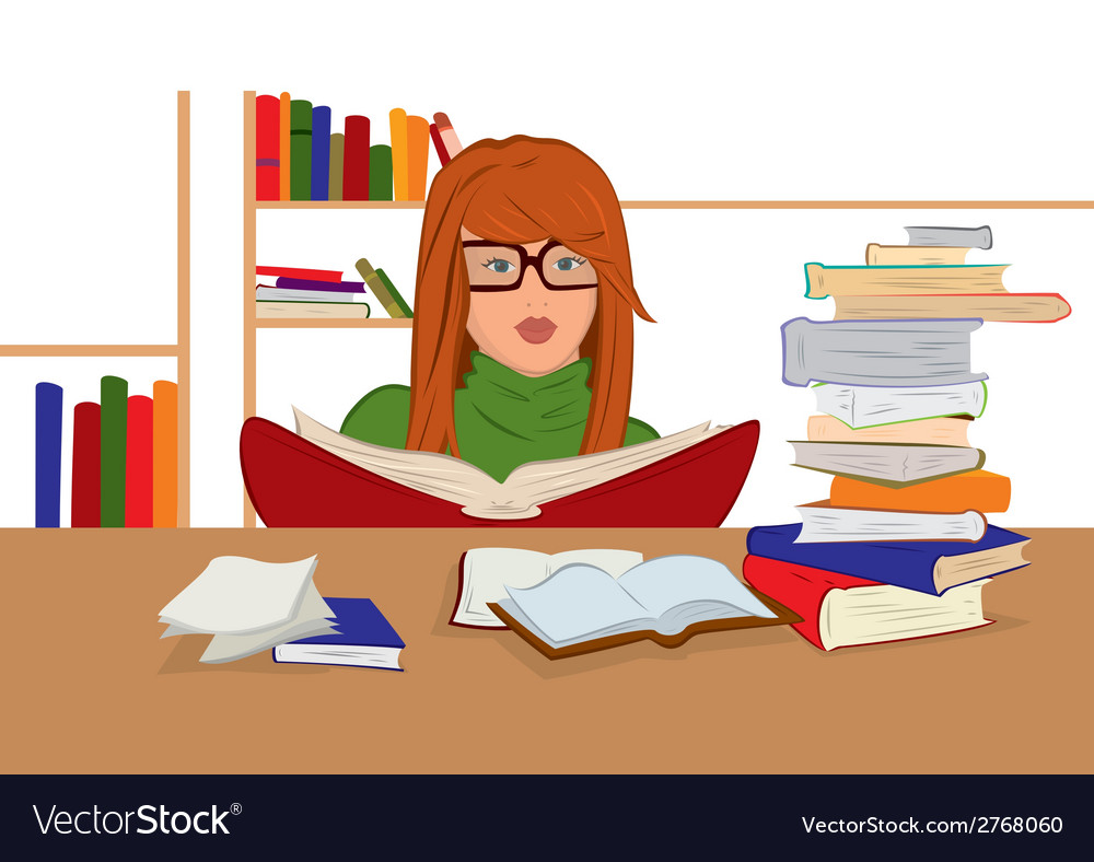 Cartoon young woman in glasses sitting and reading vector | Price: 1 Credit (USD $1)