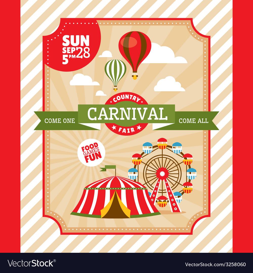Country fair vintage invitation card vector | Price: 1 Credit (USD $1)