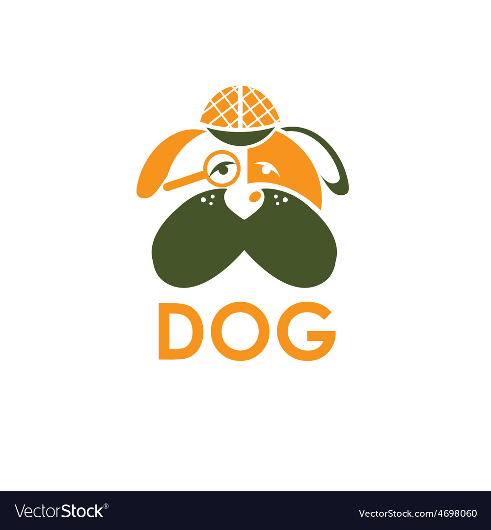 Dog in sherlock holmes hat design template vector | Price: 1 Credit (USD $1)