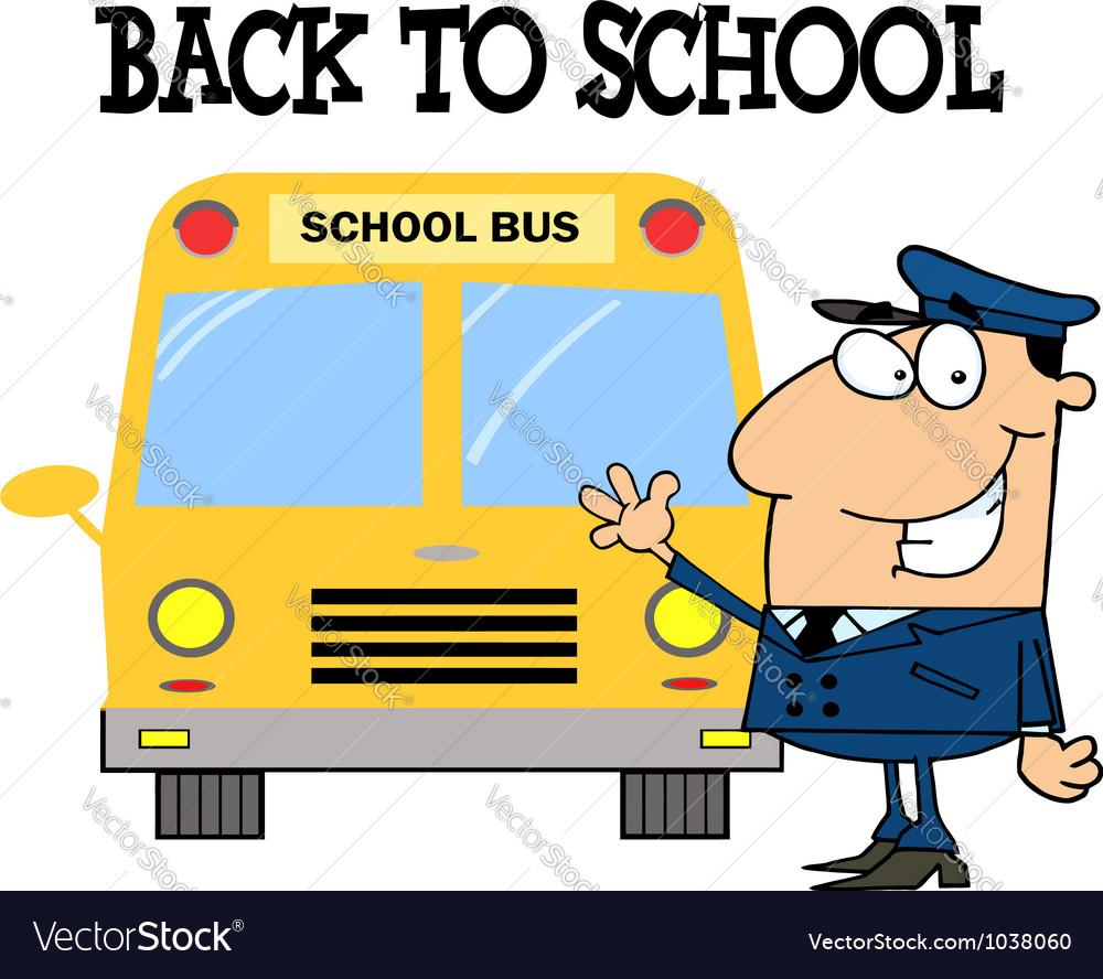 Driver in front of school bus vector | Price: 1 Credit (USD $1)