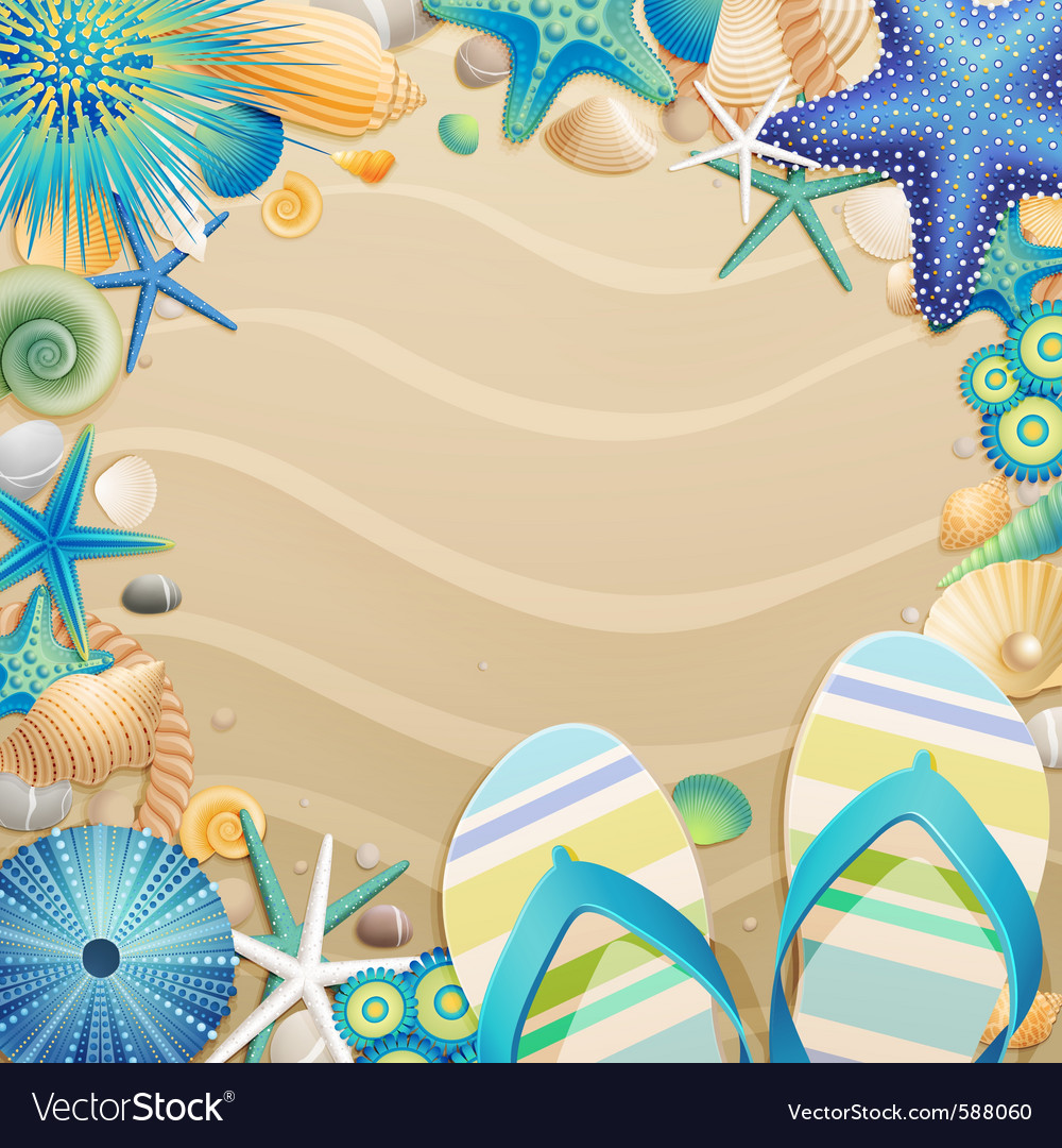 Flipflops and shells vector | Price: 5 Credit (USD $5)