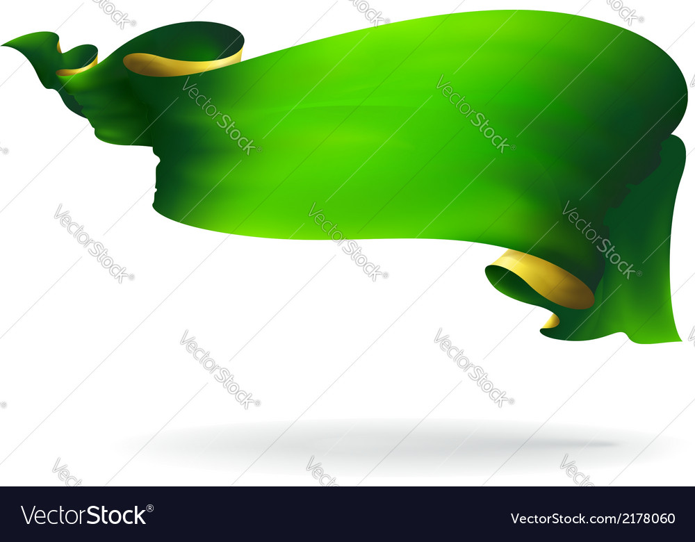 Green ribbon banner vector | Price: 1 Credit (USD $1)