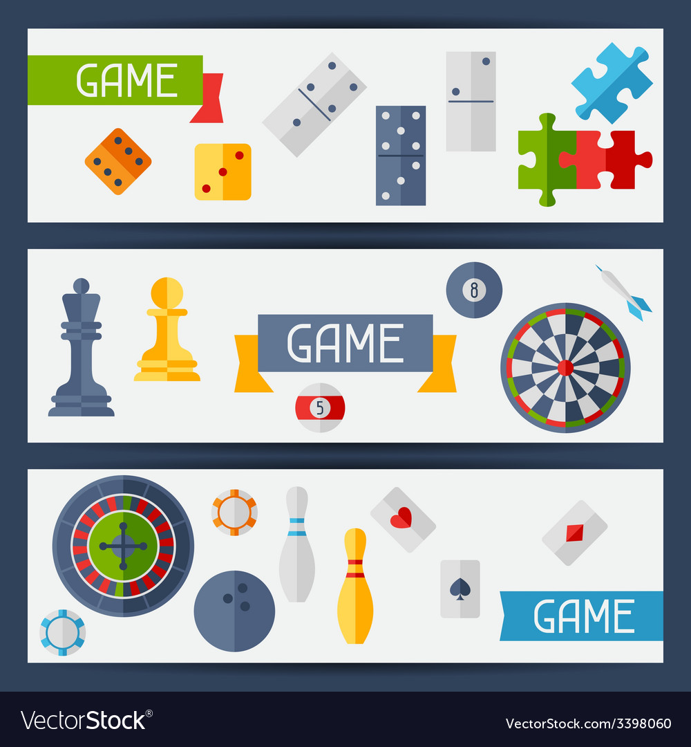 Horizontal banners with game icons in flat design vector | Price: 1 Credit (USD $1)