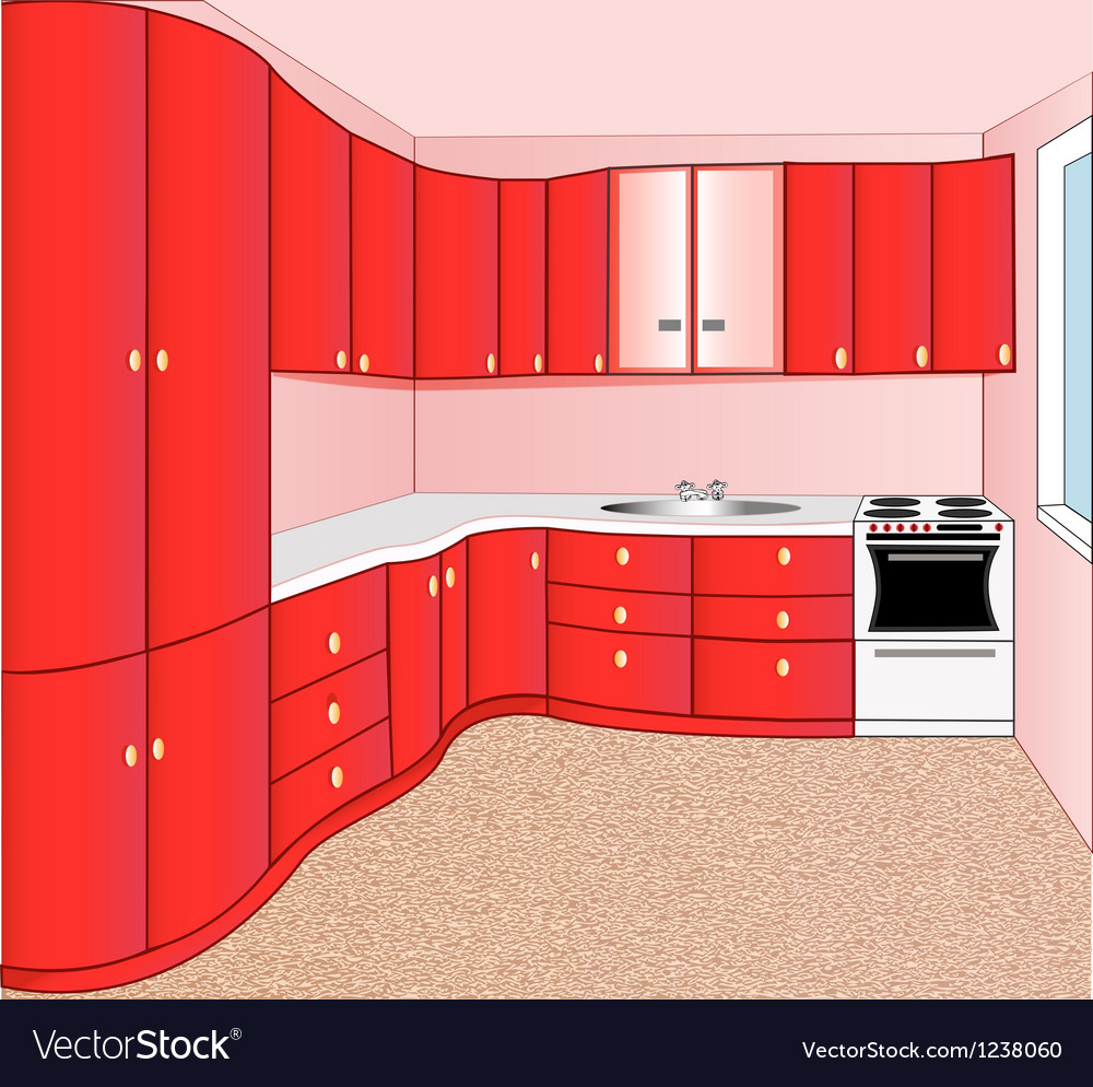 Interior of the kitchen red vector | Price: 1 Credit (USD $1)