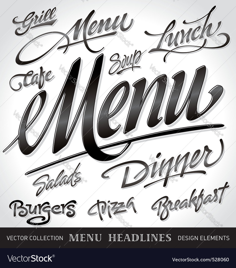 Menu headlines set vector | Price: 1 Credit (USD $1)