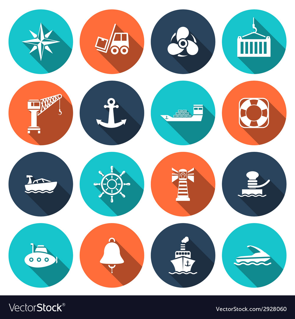 Sea port icons set vector | Price: 1 Credit (USD $1)