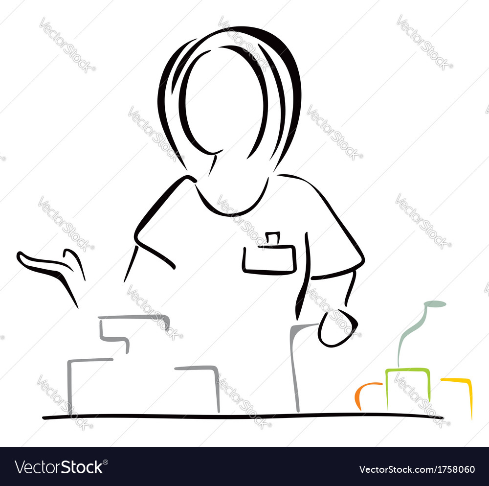 Seller in shop vector | Price: 1 Credit (USD $1)