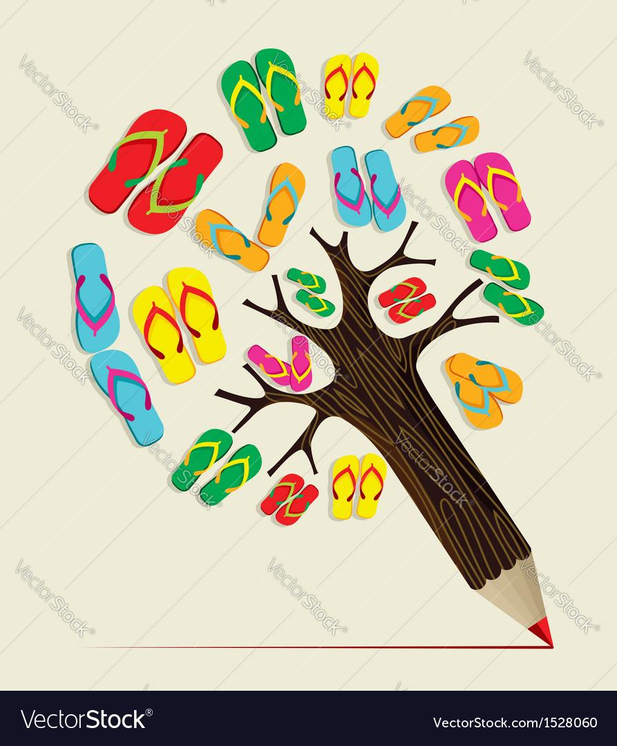 Summer tree pencil concept vector | Price: 1 Credit (USD $1)