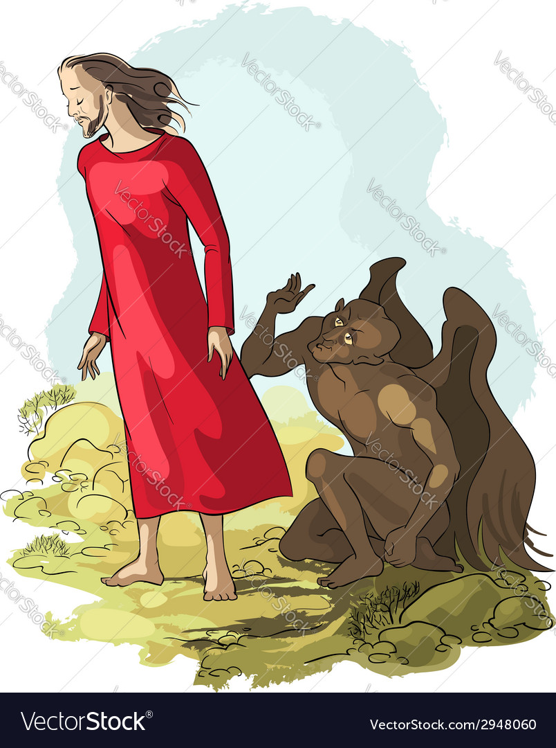 Temptation of christ in the wilderness vector | Price: 5 Credit (USD $5)