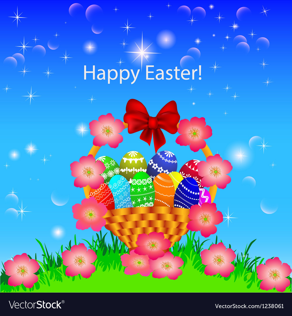 A postcard in the easter basket of eggs flower vector   Price: 1 Credit (USD $1)