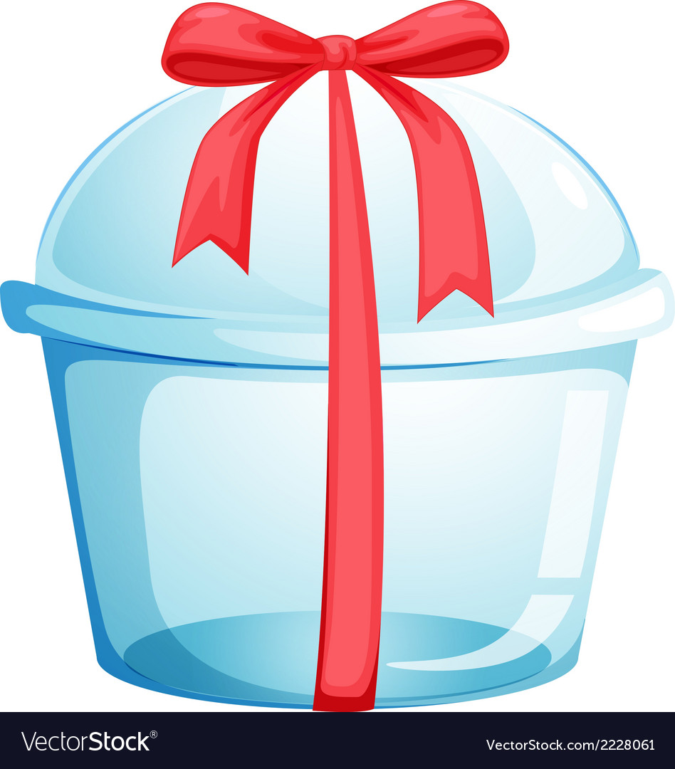 An empty cupcake container with a red ribbon vector | Price: 1 Credit (USD $1)