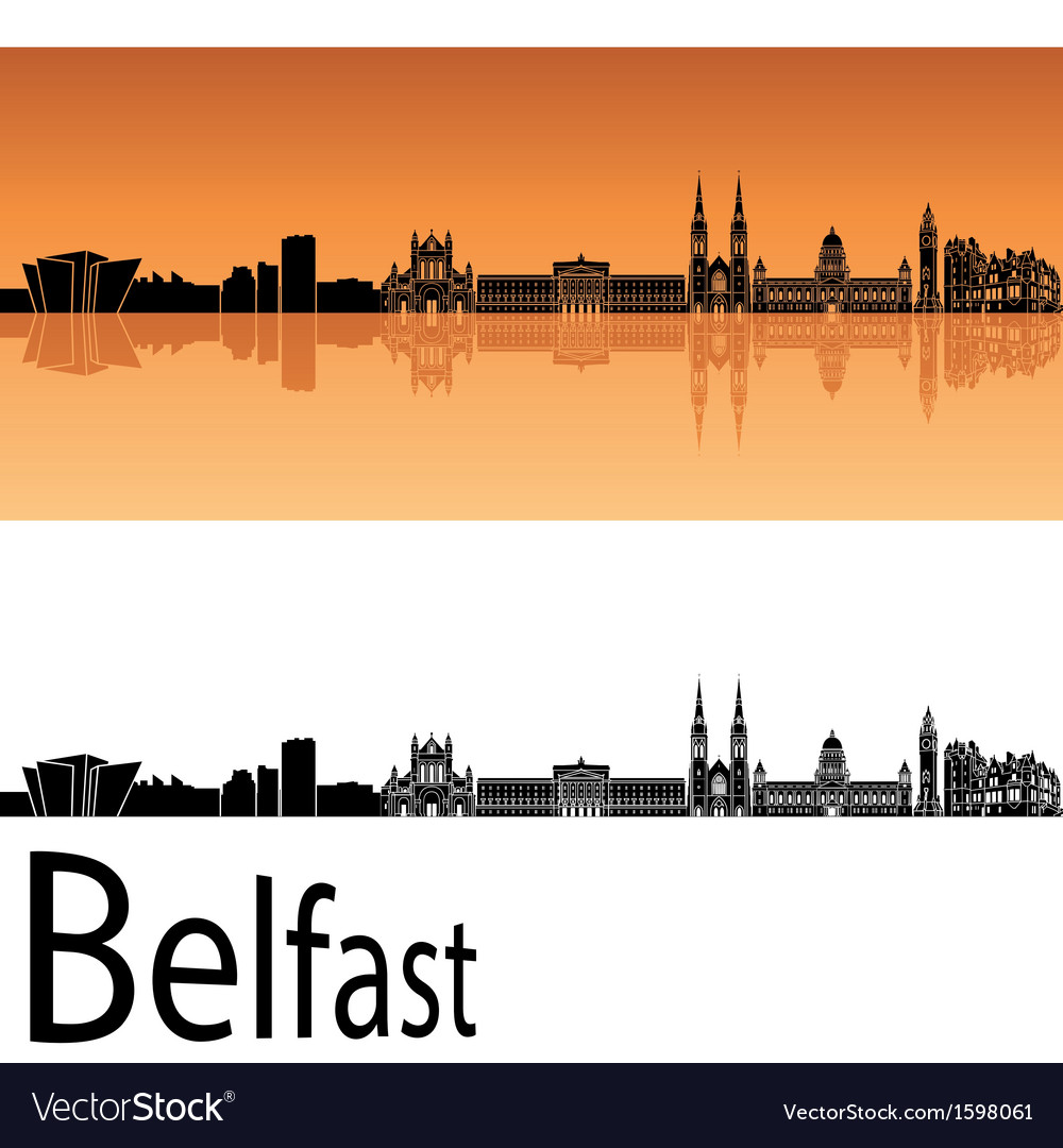 Belfast skyline in orange background vector | Price: 1 Credit (USD $1)