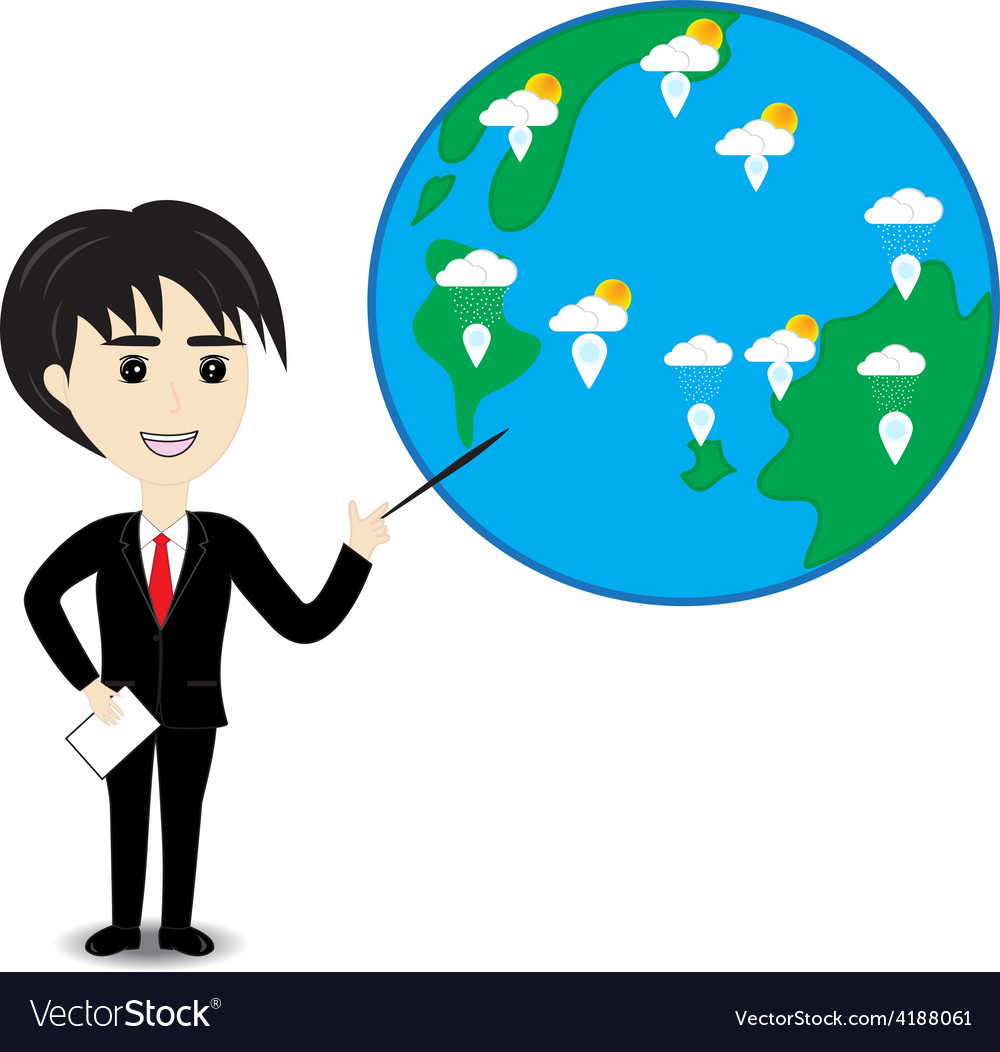 Business man describe about global warming vector | Price: 1 Credit (USD $1)