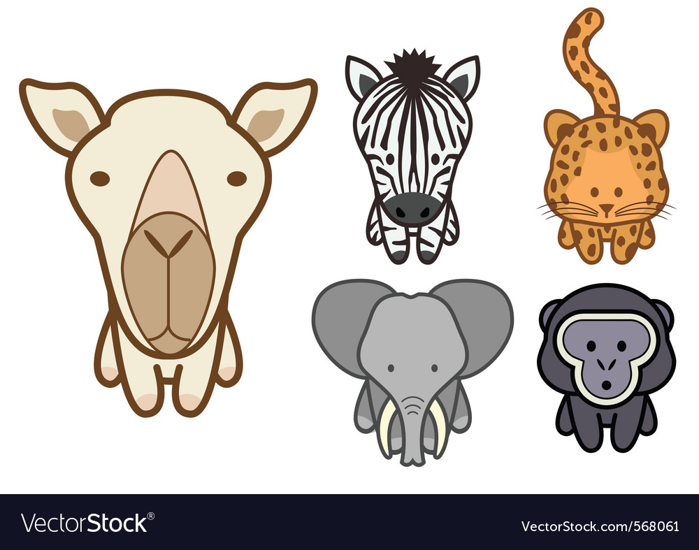Cartoon zoo animals set vector | Price: 1 Credit (USD $1)