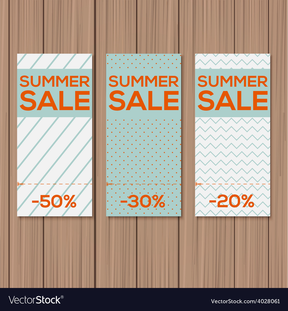 Collect sale signs with tear-off coupon vector | Price: 1 Credit (USD $1)