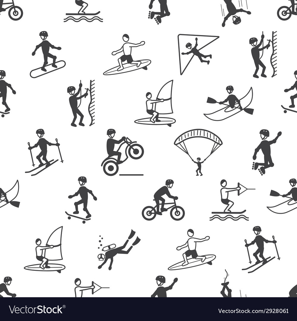 Extreme sports seamless pattern vector | Price: 1 Credit (USD $1)