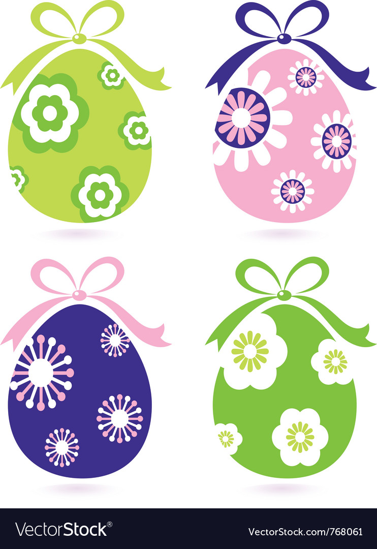 Retro easter floral eggs vector | Price: 1 Credit (USD $1)