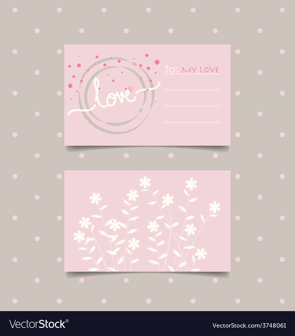Romantic greeting card design with flower vector | Price: 1 Credit (USD $1)